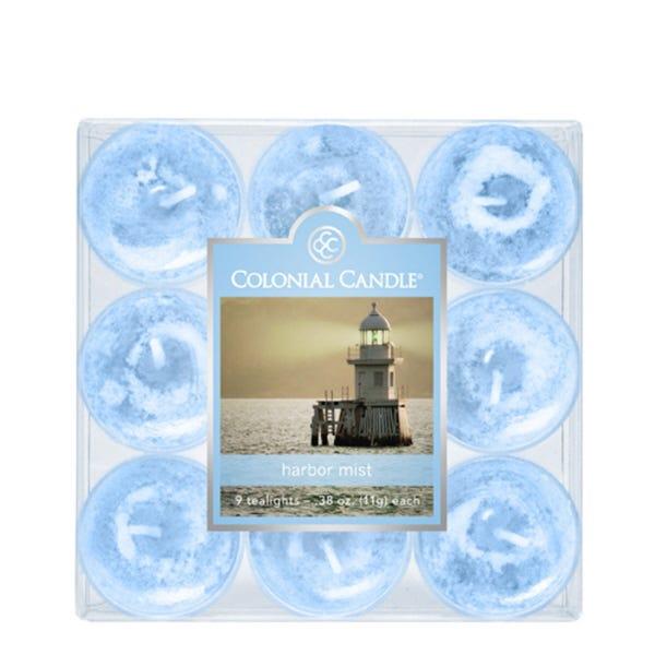 Vela de té Colonial Candle® aroma niebla del puerto, Set de 9 pzas.
