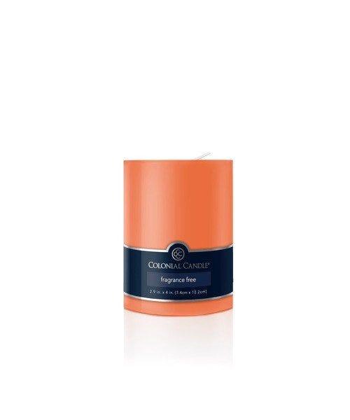 Vela pilar Colonial Candle® color naranja de 10 cm
