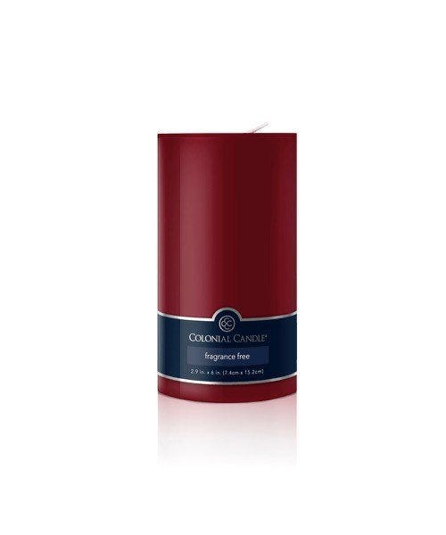 Vela pilar Colonial Candle® color vino de 15 cm