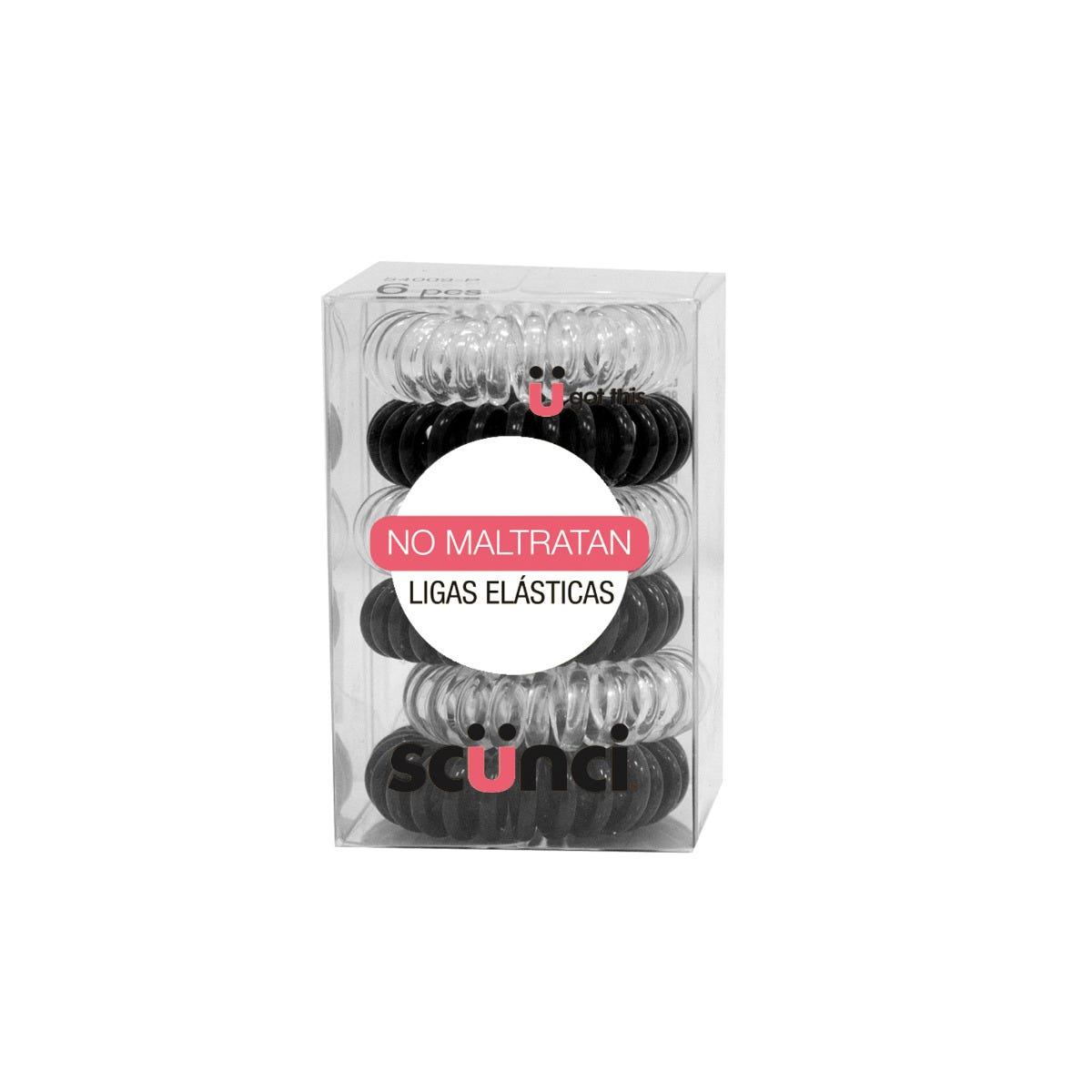 Ligas elásticas para cabello en espiral Conair® en blanco/negro