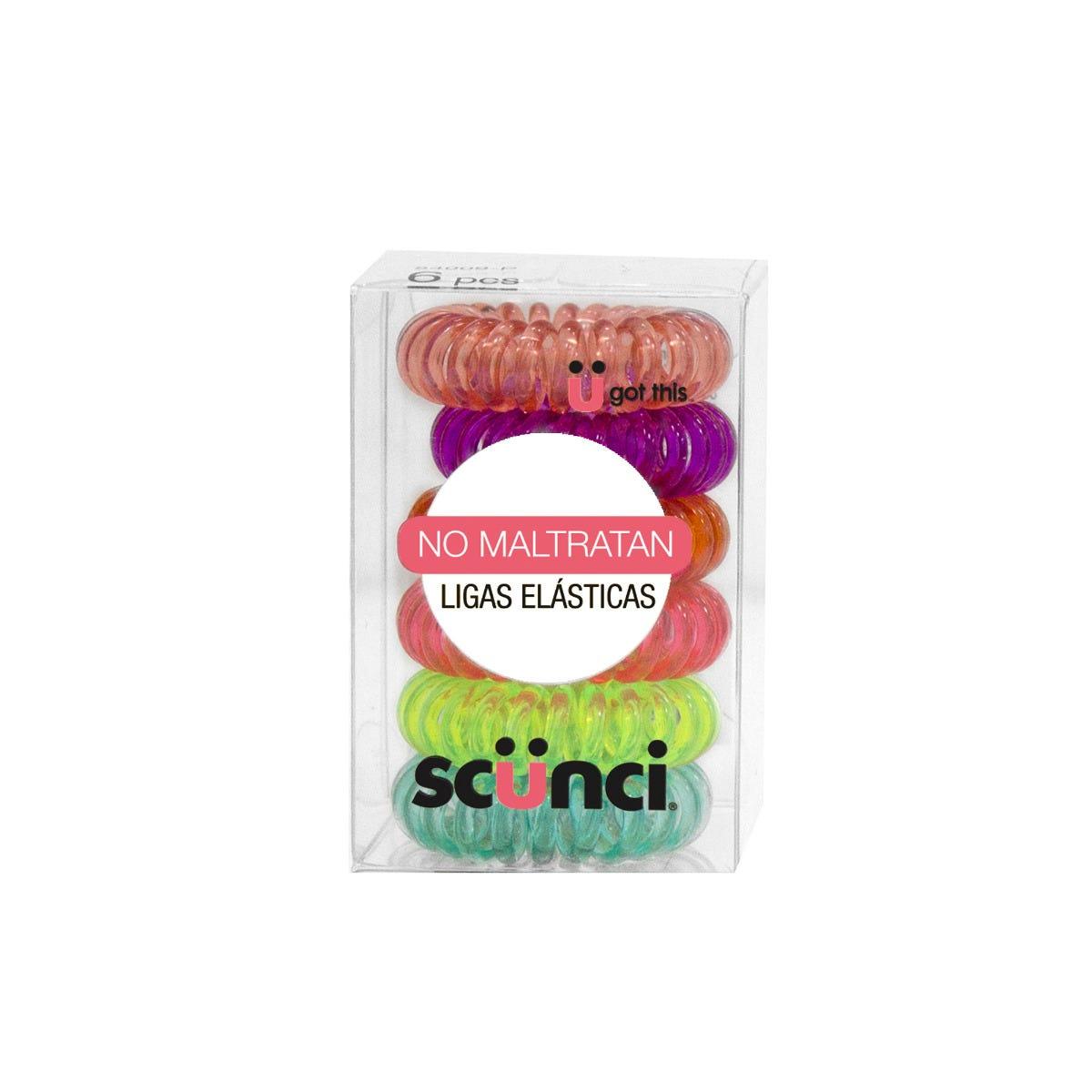 Ligas elásticas para cabello en espiral Conair® en neón, 6 piezas