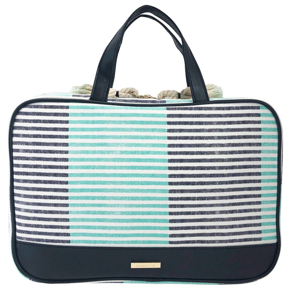 Conair® Cosmetiquera de maletín a rayas en aqua