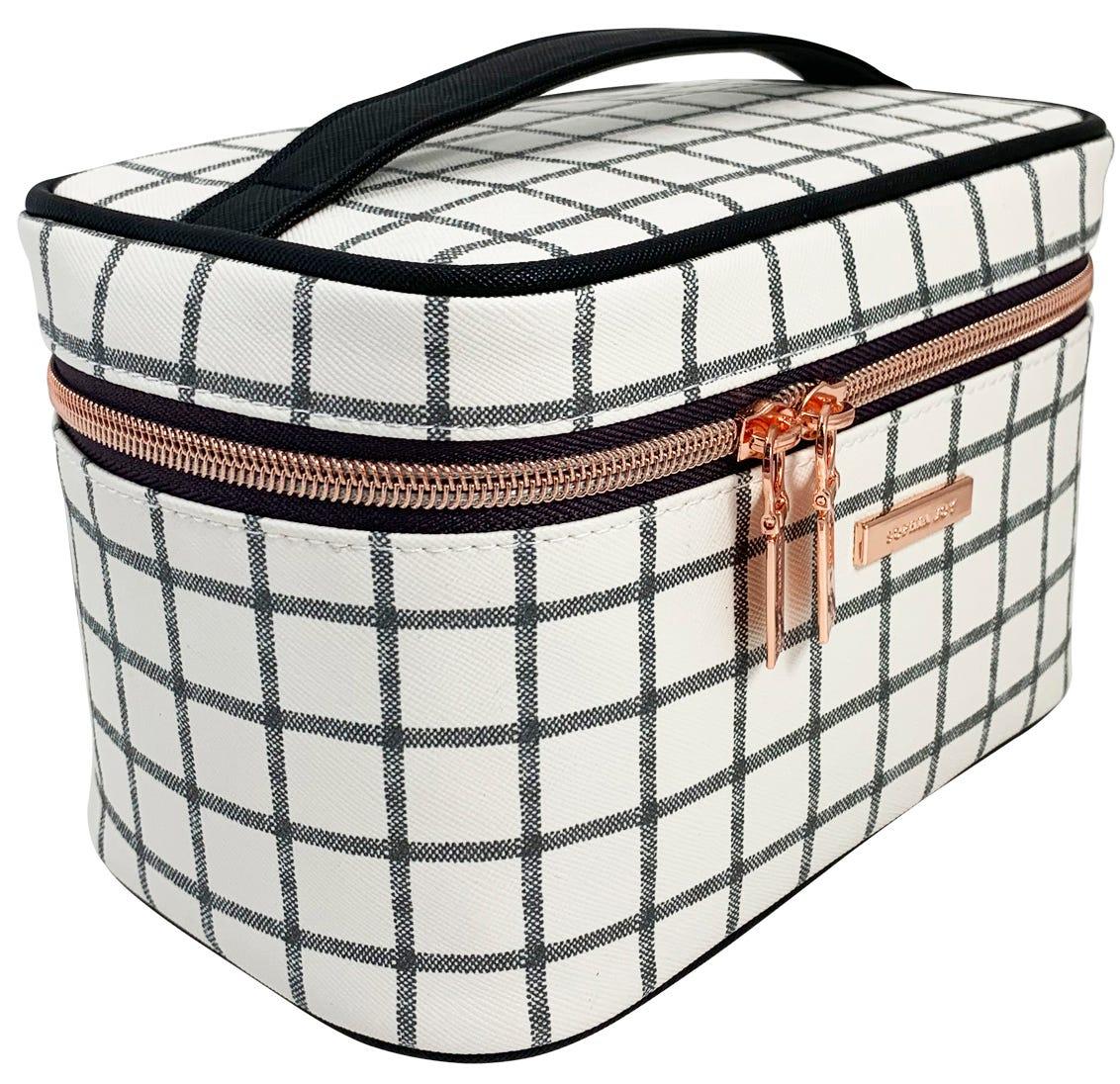 Conair® Set de cosmetiquera a cuadros en negro/blanco, 2 piezas