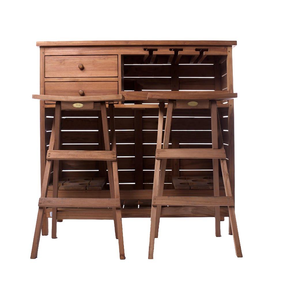 Set de mesa para exteriores con bancos en chocolate, 3 piezas