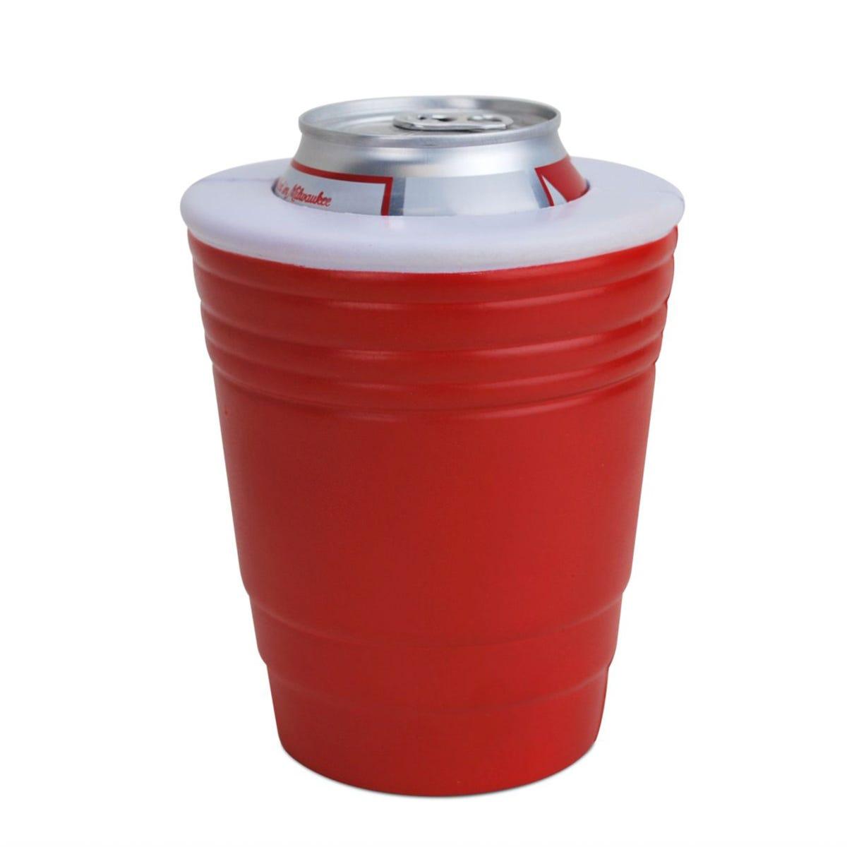 Hielera con forma de vaso rojo de fiesta