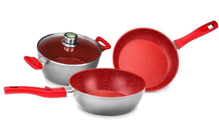 Batería de cocina FlavorStone® Master en rojo, 6 piezas
