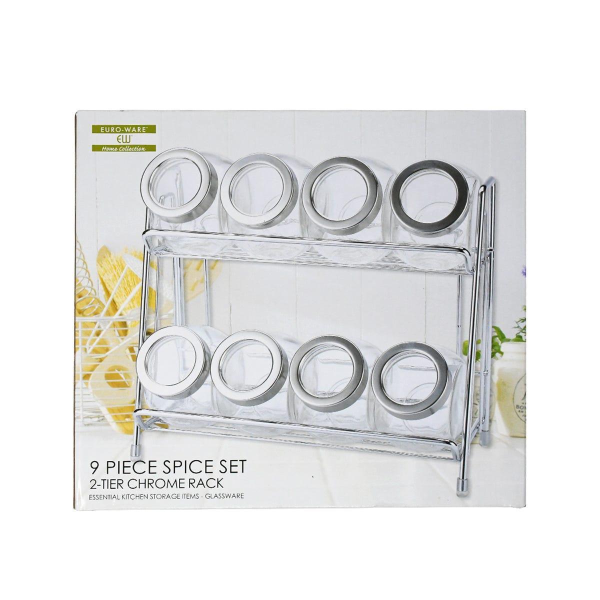 Set de frascos de vidrio Euro-Home para especias con estante, 9 piezas