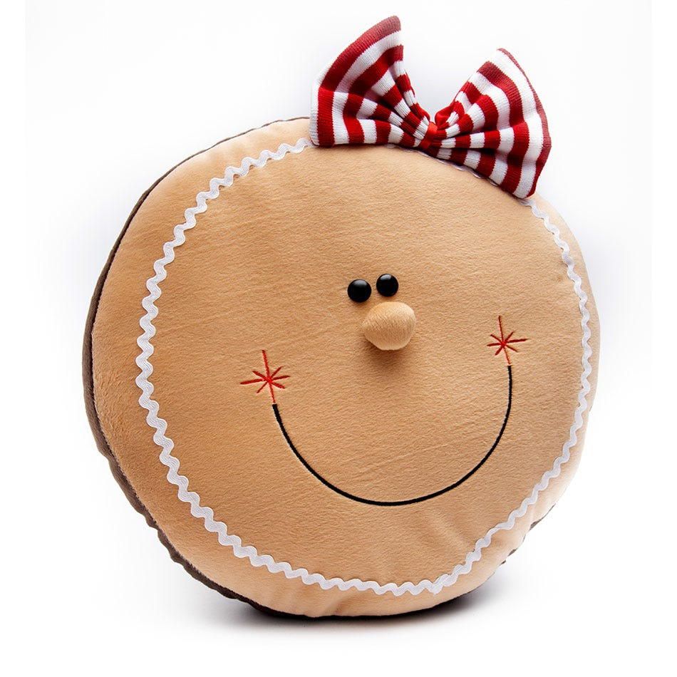 Cojín navideño BARTTOLA con cara de muñeca de jengibre