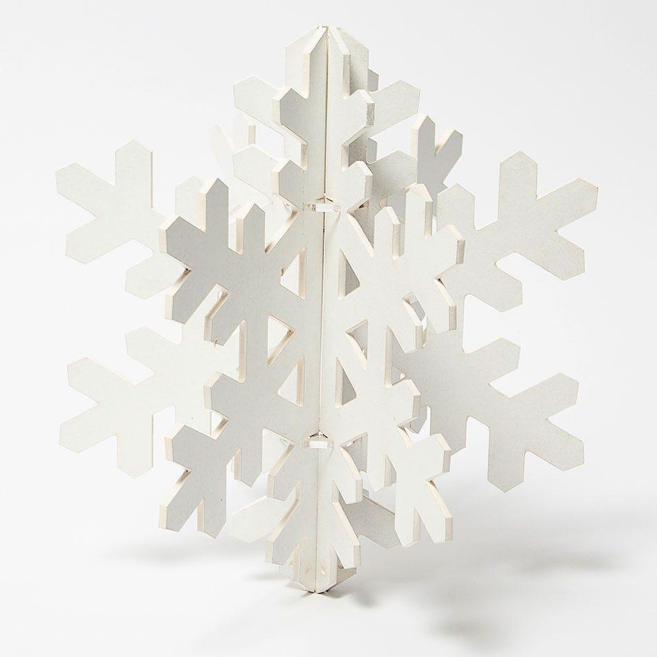 Copo de nieve decorativo BARTTOLA 3D mediano en blanco