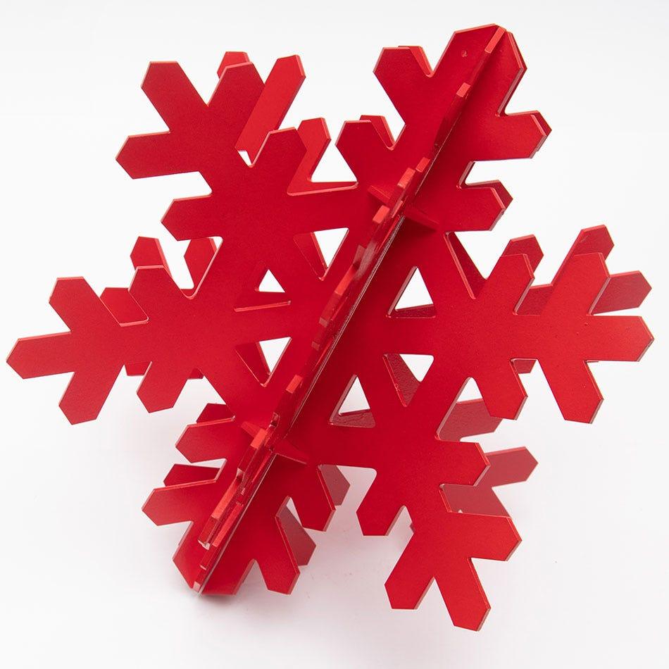 Copo de nieve decorativo BARTTOLA 3D chico en rojo