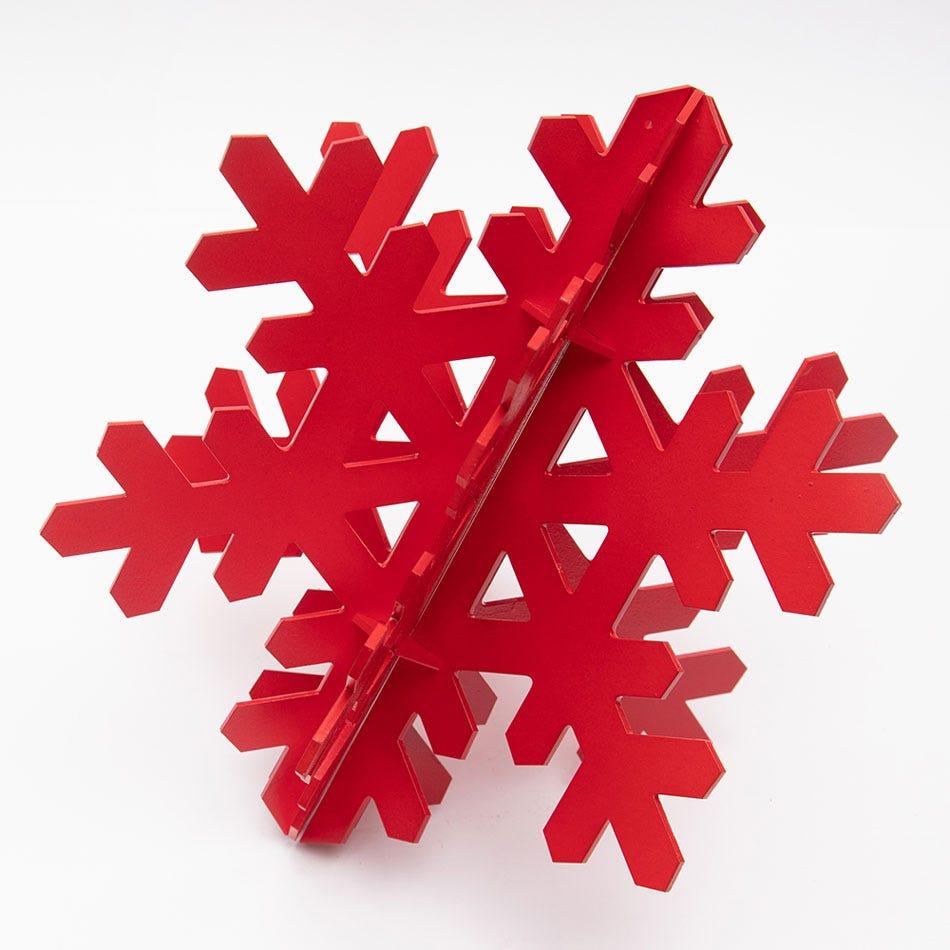 Copo de nieve decorativo BARTTOLA 3D grande color rojo