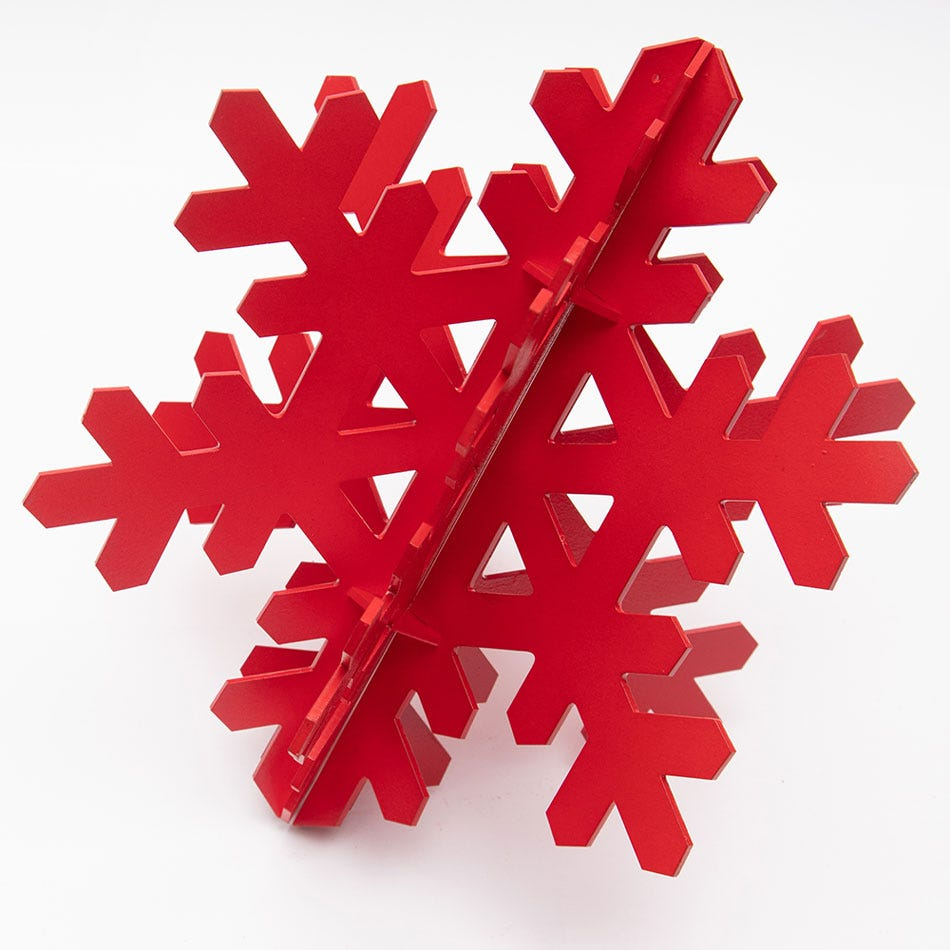 Copo de nieve decorativo BARTTOLA 3D mediano color rojo