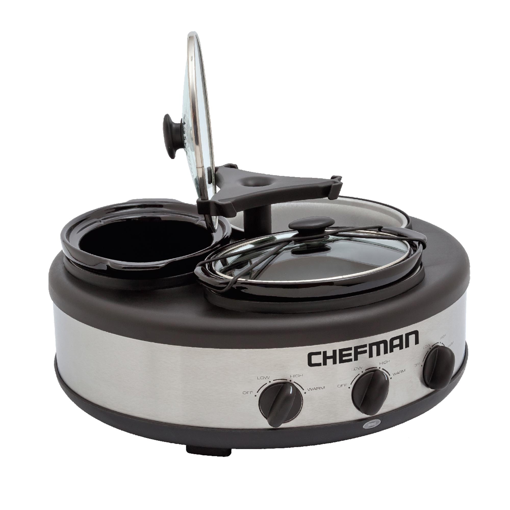 Bufetera eléctrica de acero inoxidable Chefman® triple de cocción lenta
