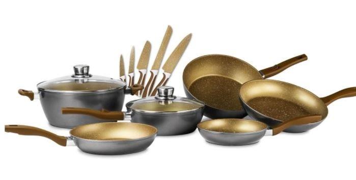 Batería de cocina FlavorStone® Family en cobre, 13 piezas