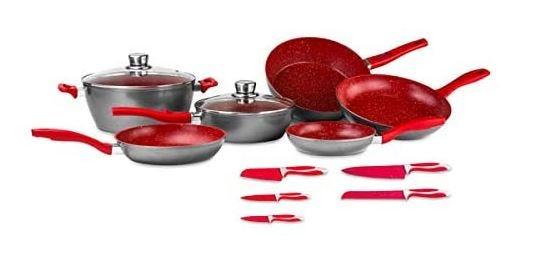 Batería de cocina FlavorStone® Family en rojo 13 piezas