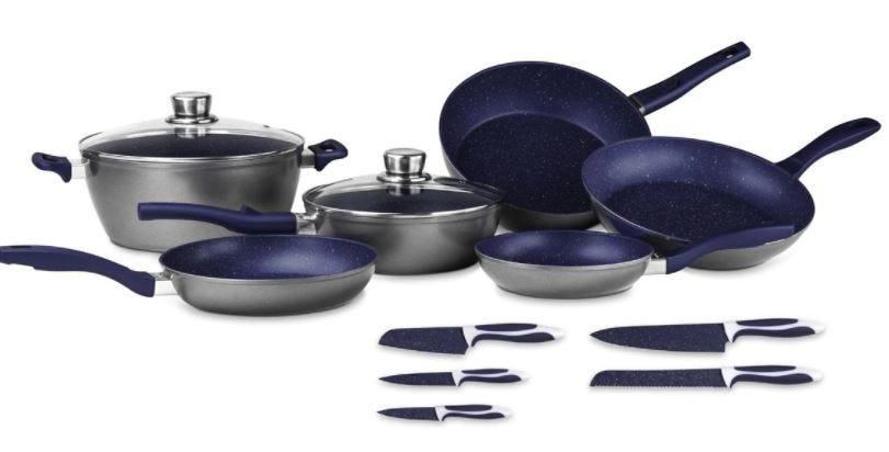 Batería de cocina FlavorStone® Family en azul mayan, 13 piezas