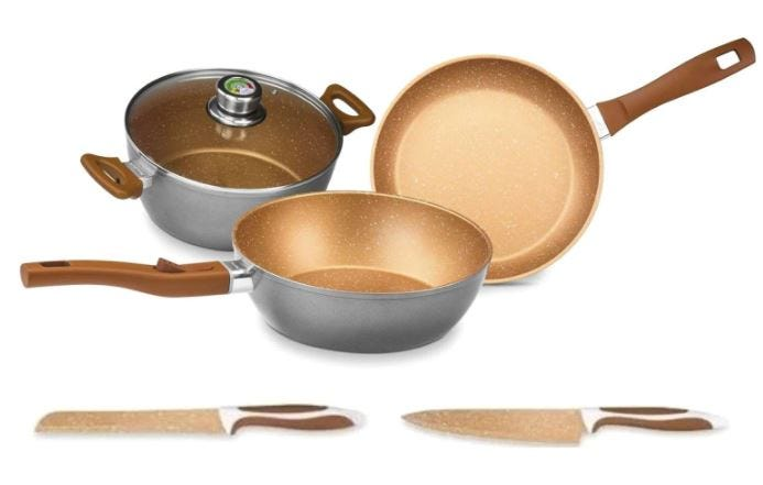 Batería de cocina FlavorStone® Master en cobre, 6 piezas