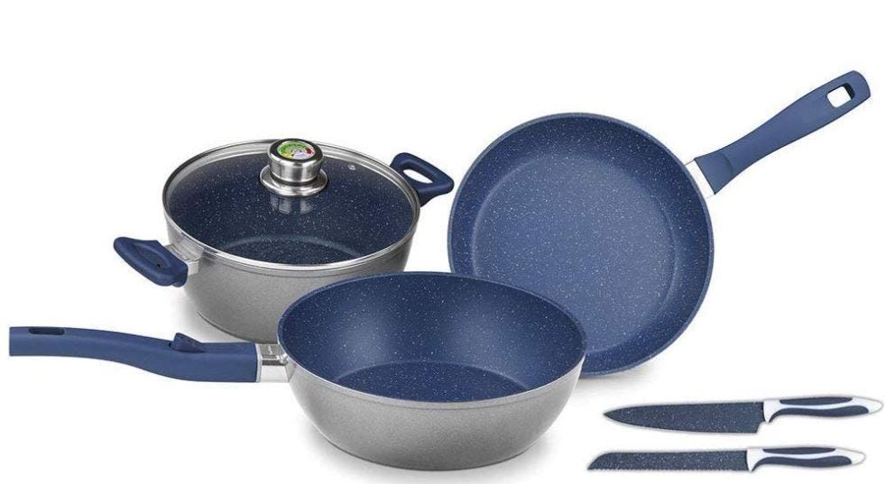 Batería de cocina FlavorStone® Master en azul mayan, 6 piezas
