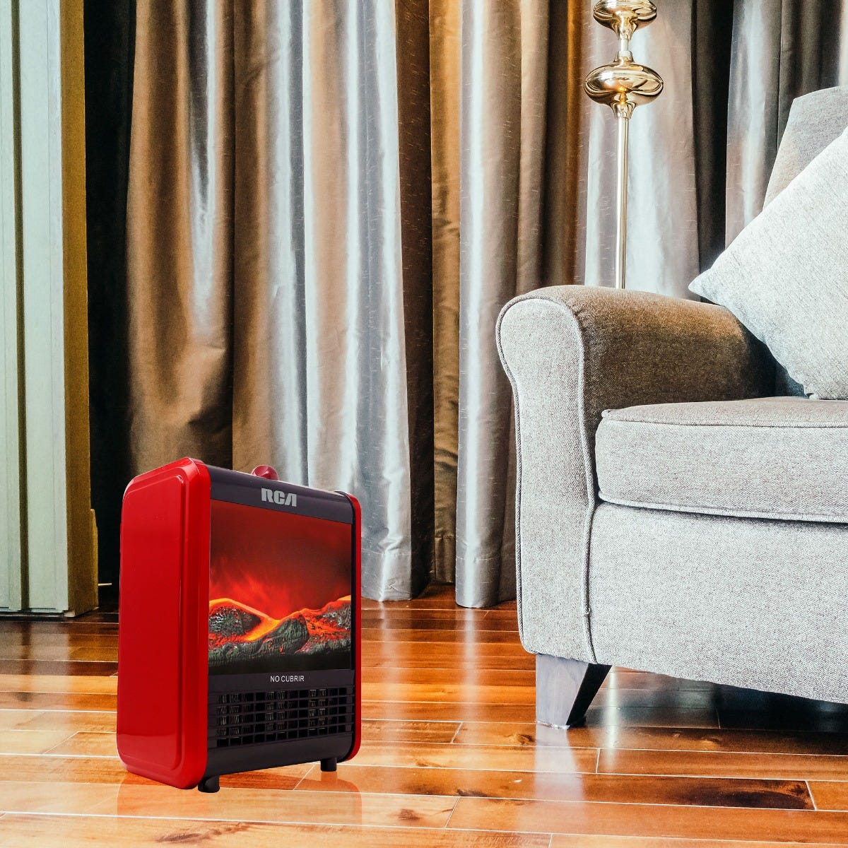 Calefactor RCA de cerámica en rojo/negro