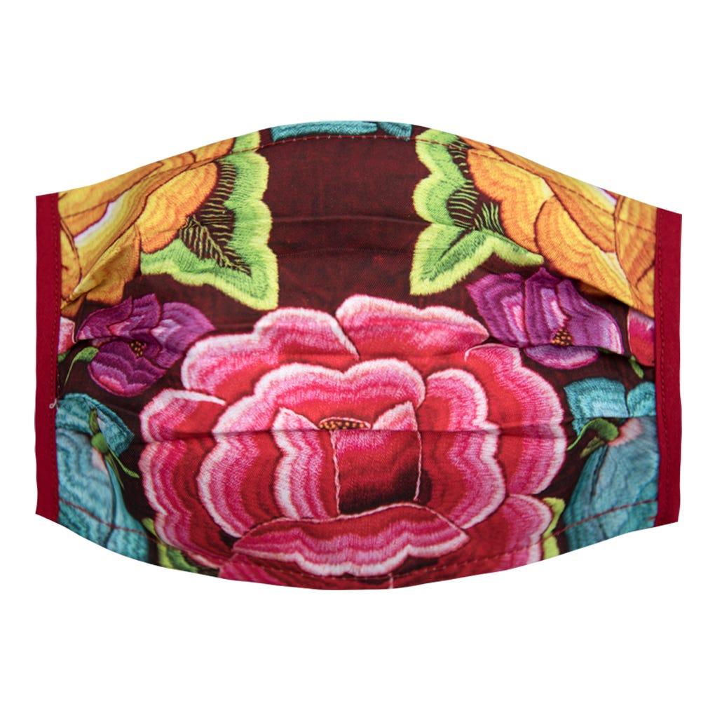 Cubrebocas para dama Karaniart® con diseño de flores alegres