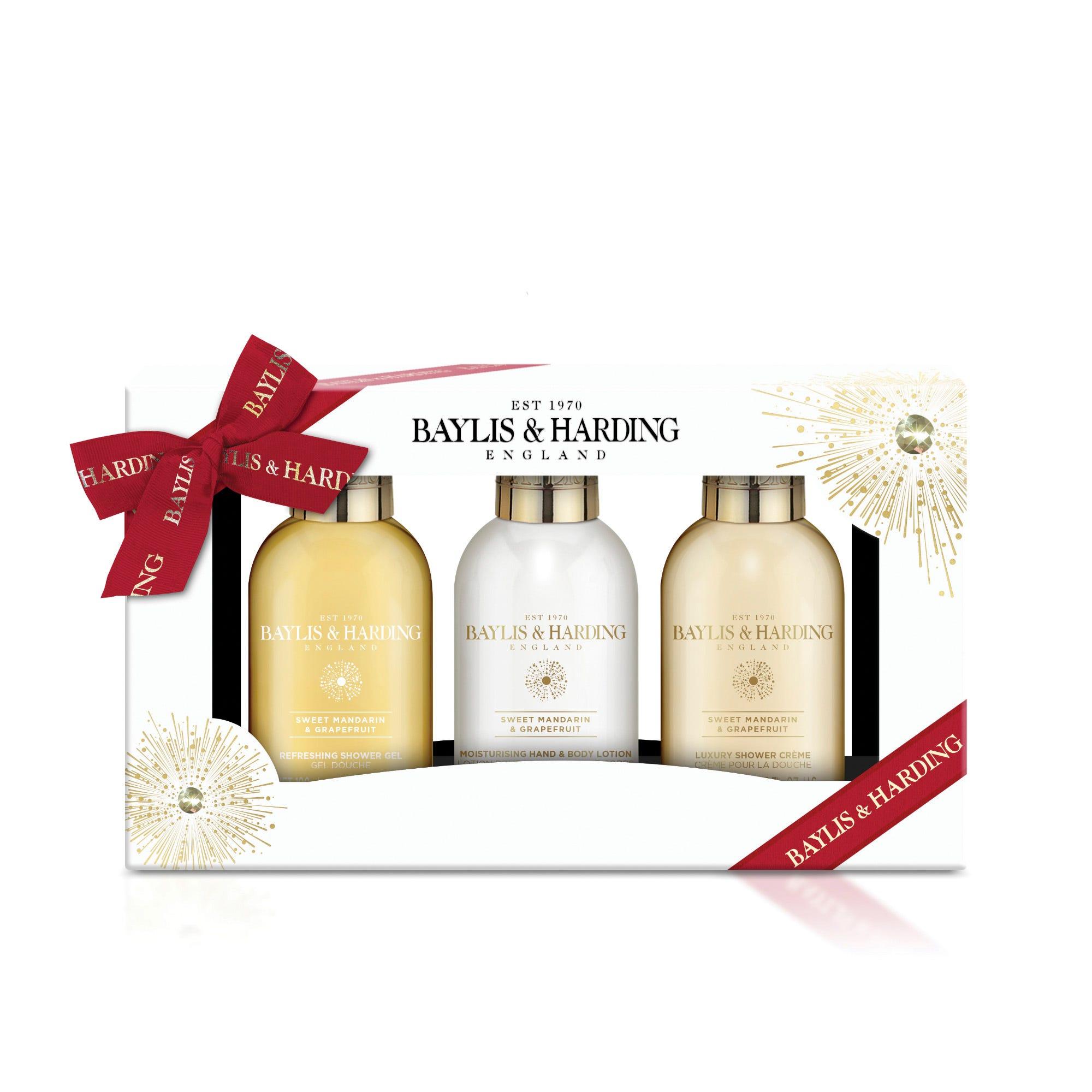 Set de gel de baño, loción corporal y crema de baño Baylis & Harding aroma mandarina y uva, 3 piezas