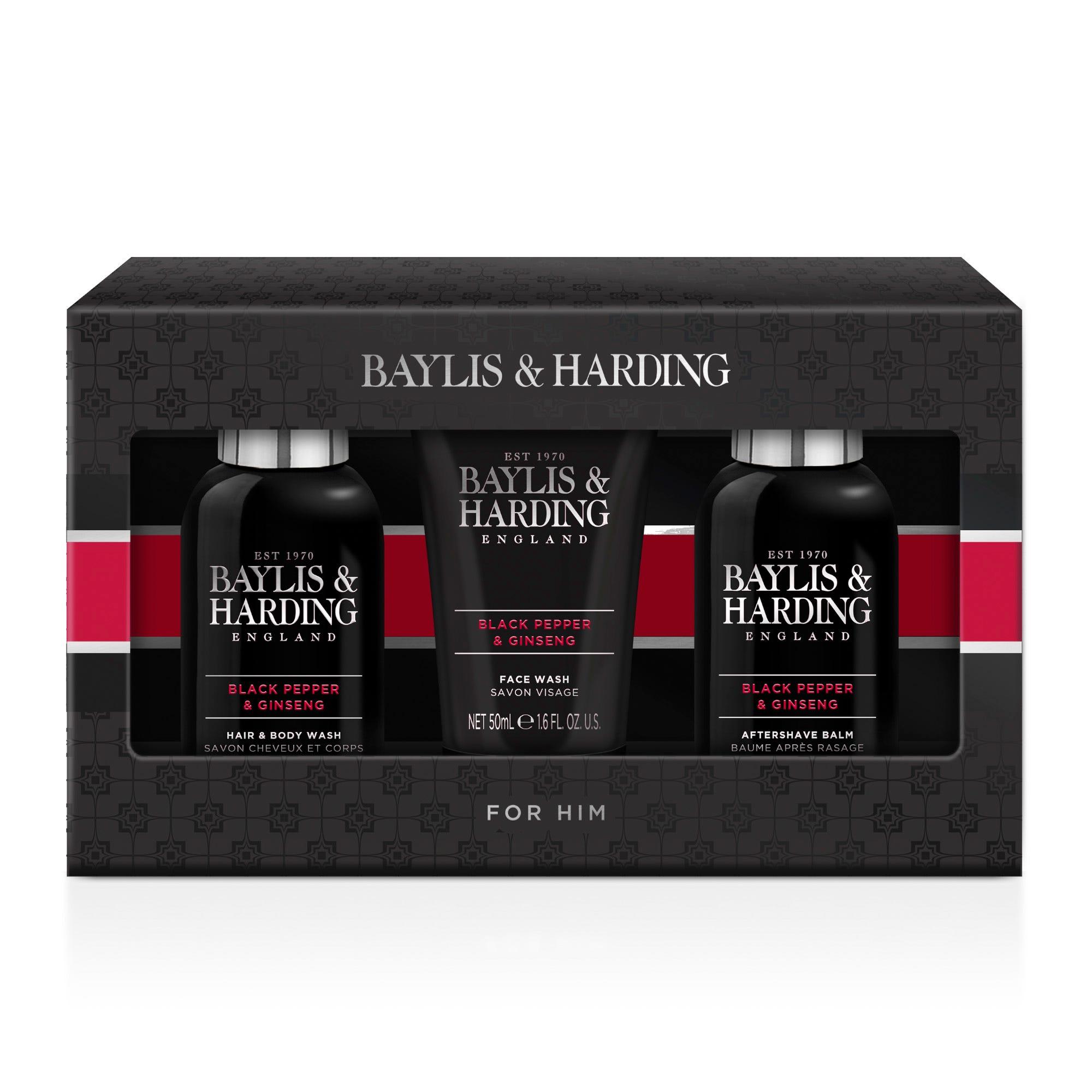 Set de cuidado de la piel Baylis & Harding para hombre aroma pimienta y ginseng, 3 piezas