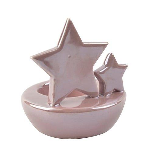 Portavelas navideño con estrellas en rosa