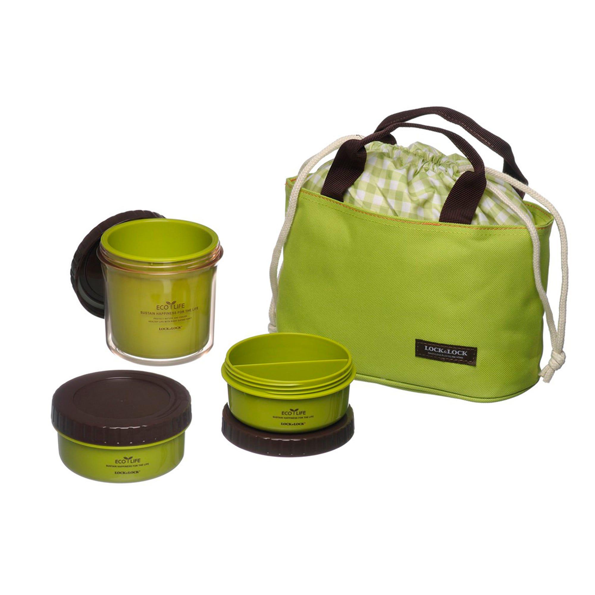 Set de lonchera y contenedores Lock & Lock® en verde, 4 piezas