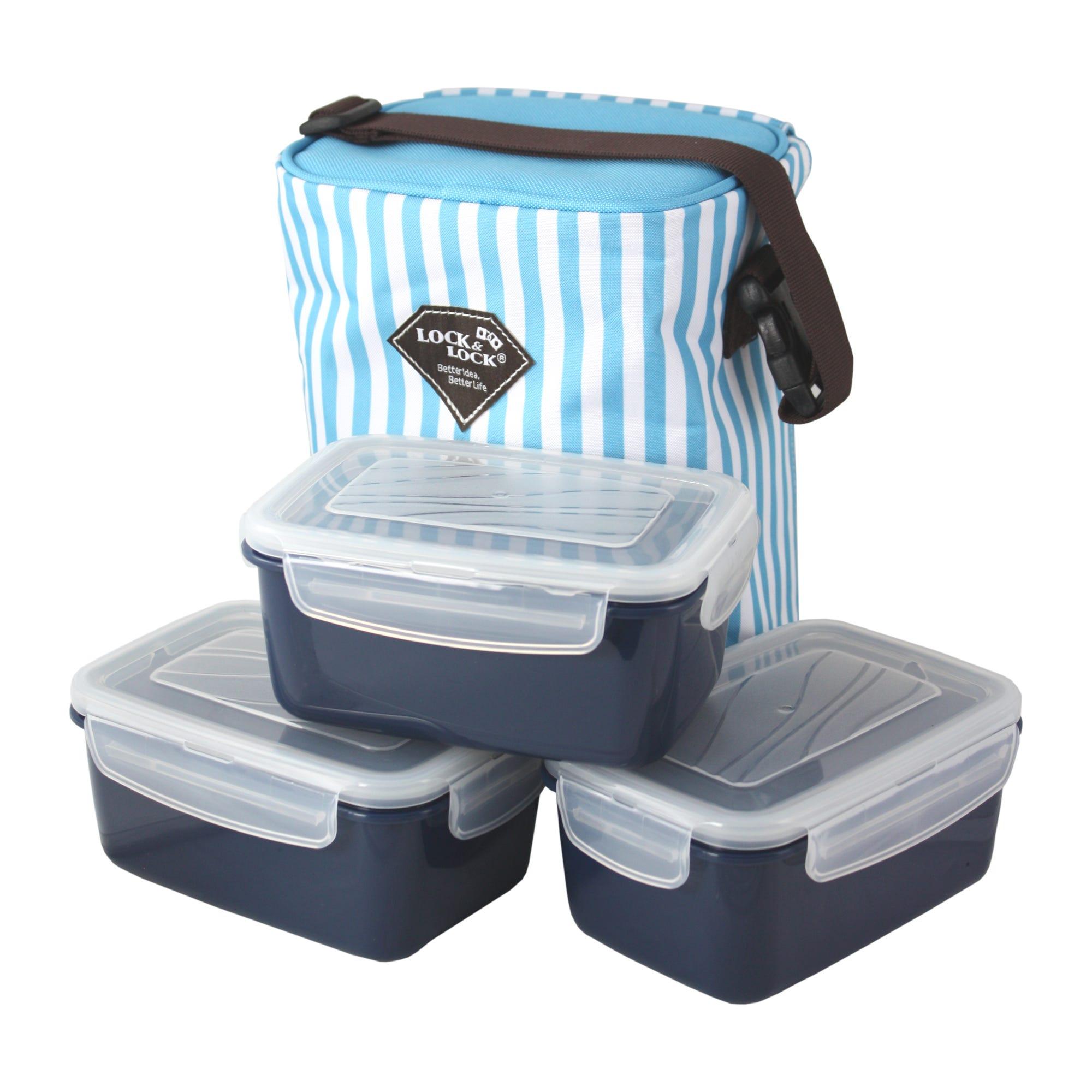 Set de lonchera y contenedores Lock & Lock® en azul/blanco, 4 piezas