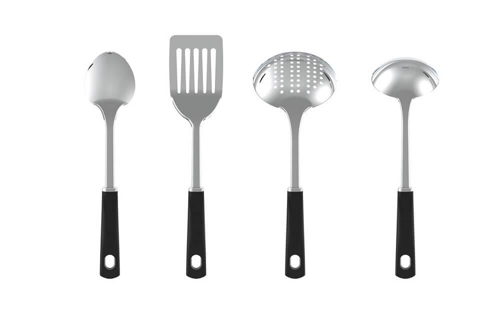 Set de utensilios para cocina T-Fal® en negro/plata, 4 piezas