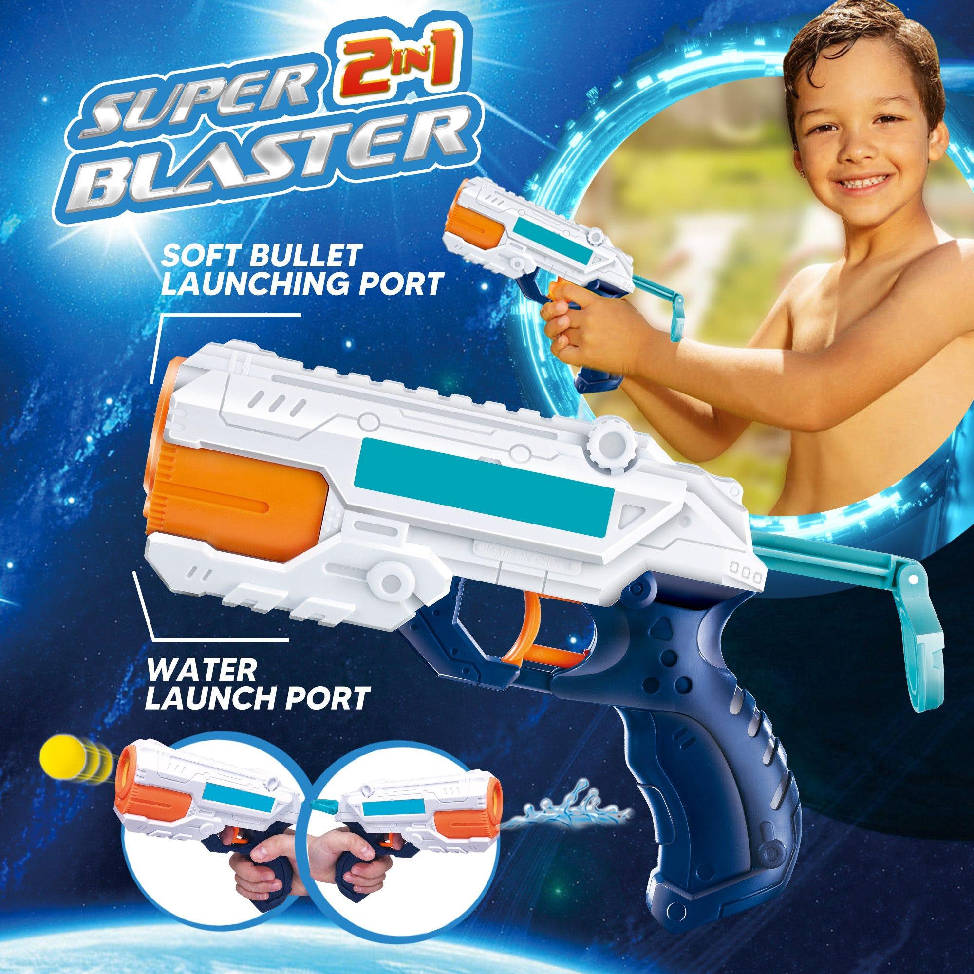 Pistola 2 en 1 Pro Star Toys para agua y balas de goma