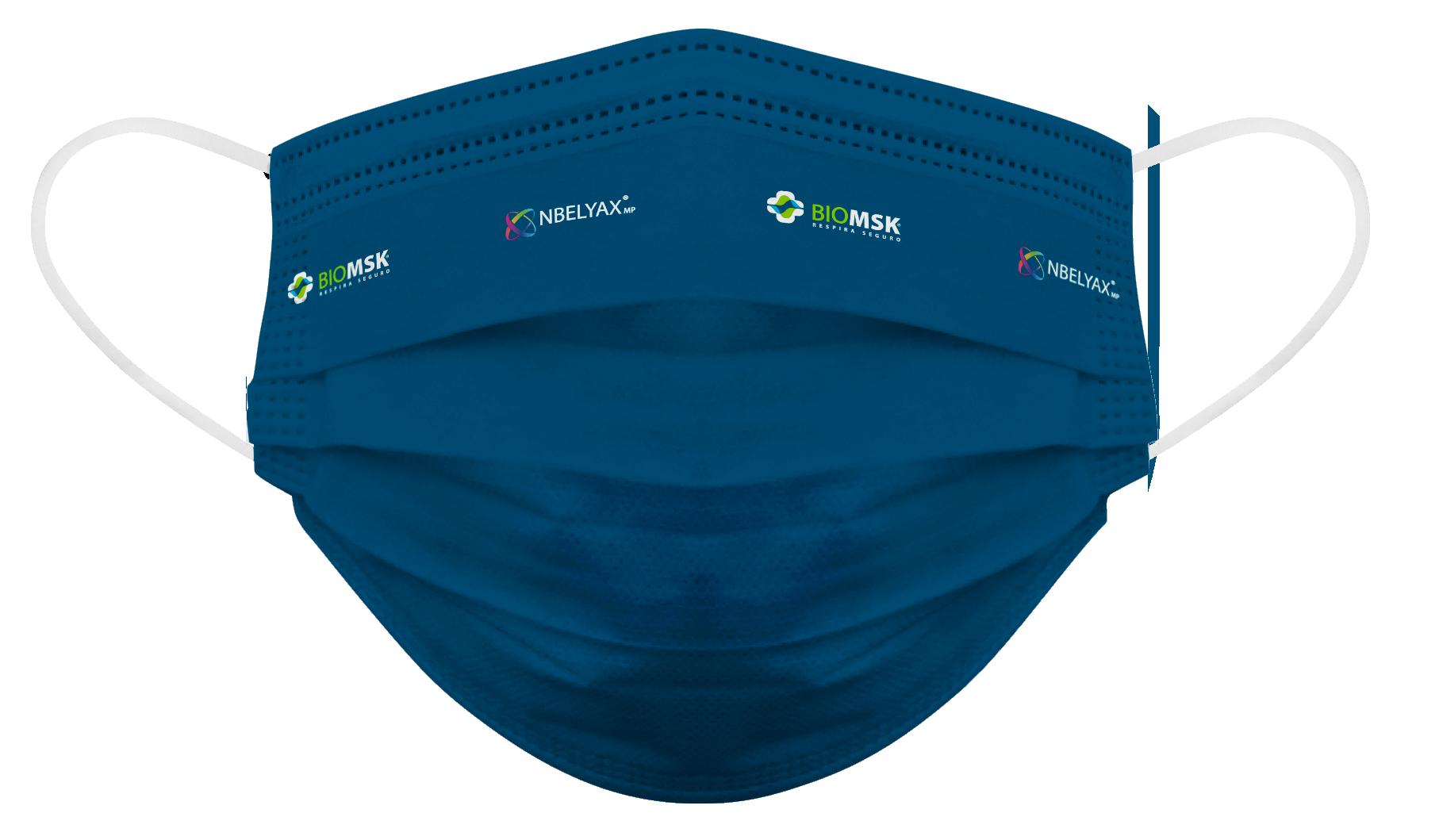 Cubrebocas para adulto Biomsk® con diseño liso en azul