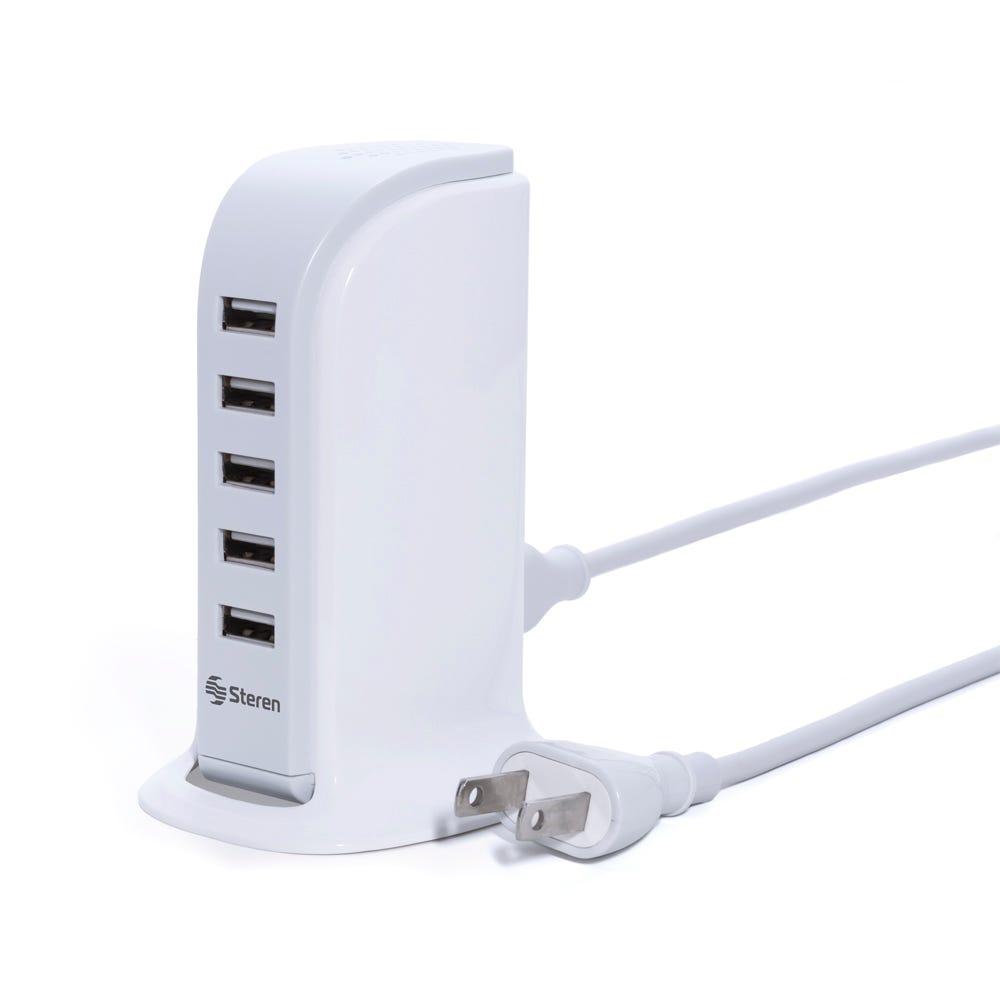 Cargador USB de plástico Steren® con 5 salidas
