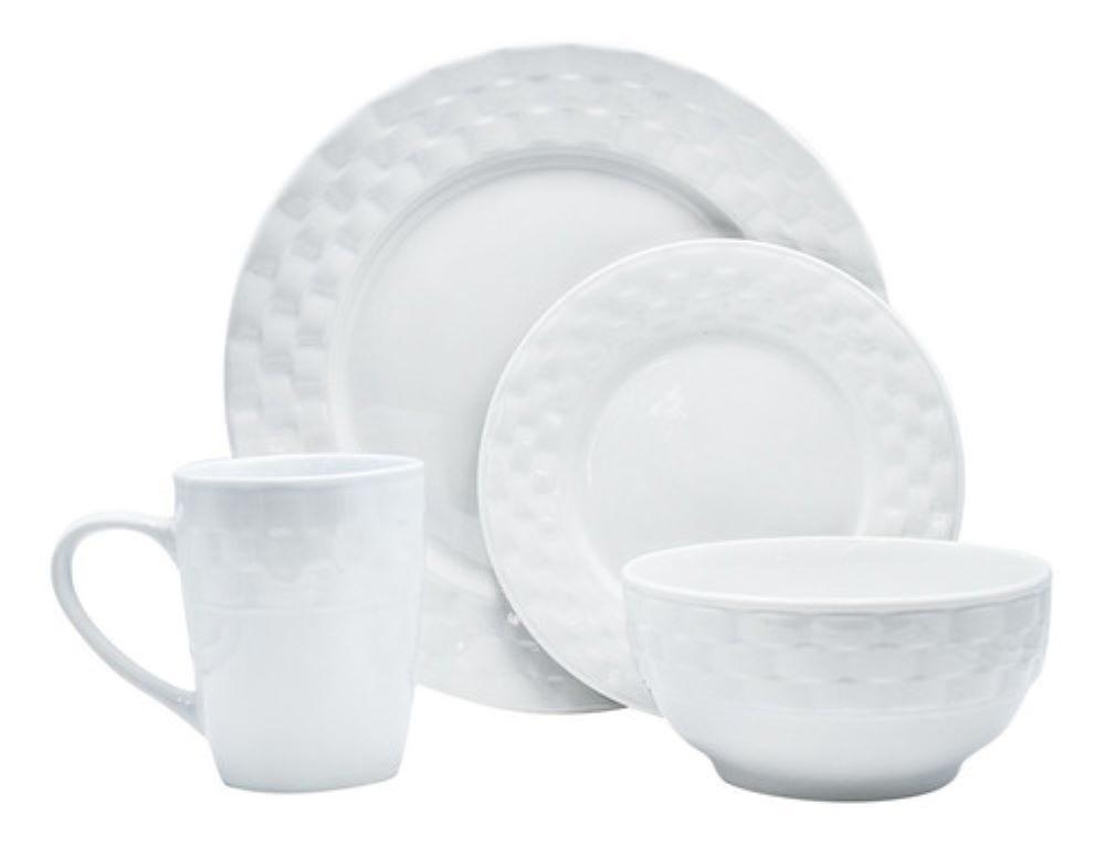 Vajilla de porcelana Rattan color blanco