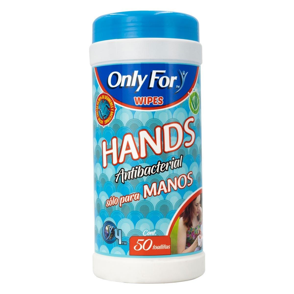 Toallitas antibacteriales Only For® para manos