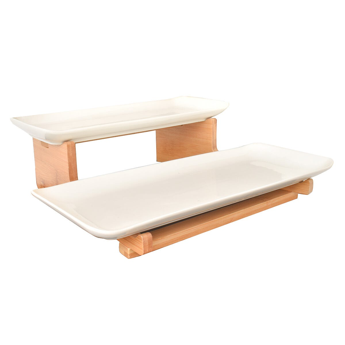 Platos de porcelana de servicio con base de madera