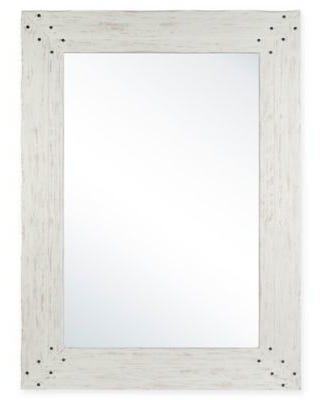 Columbia Frame Espejo con marco en blanco deslavado
