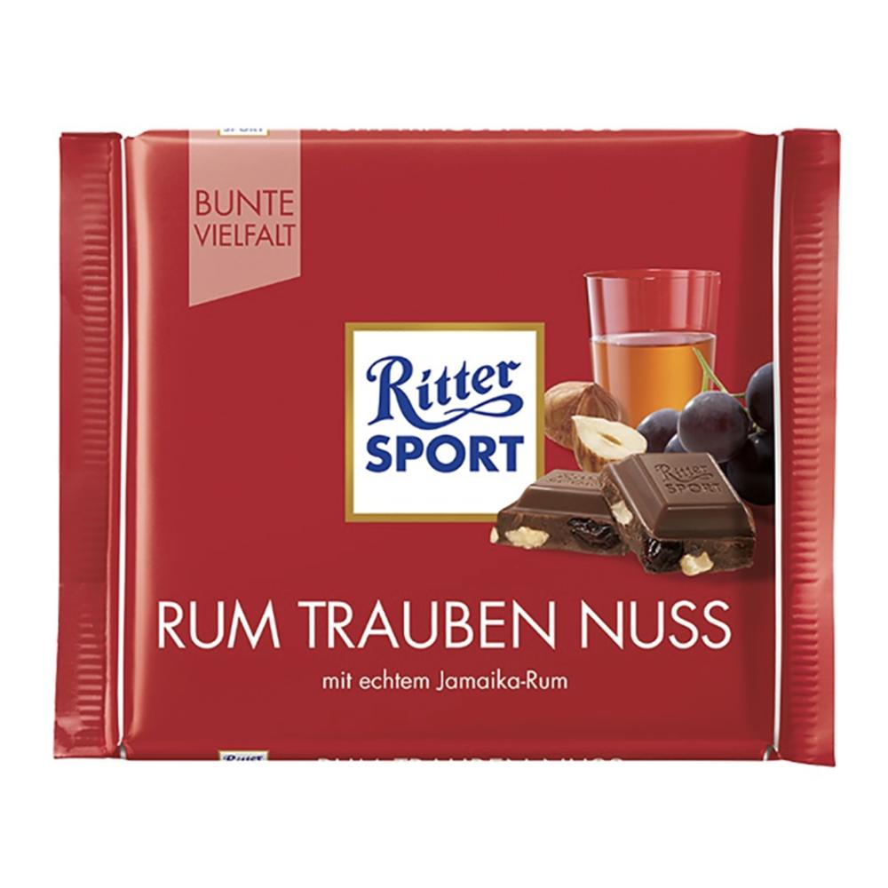 Chocolate con pasas, avellanas y ron Ritter® de 100 g