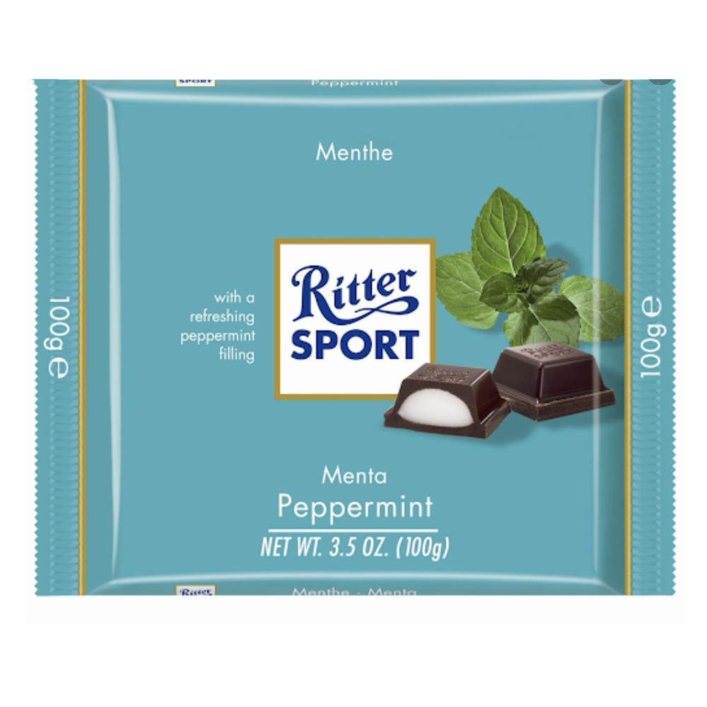 Chocolate amargo relleno con menta Ritter®de 100 g