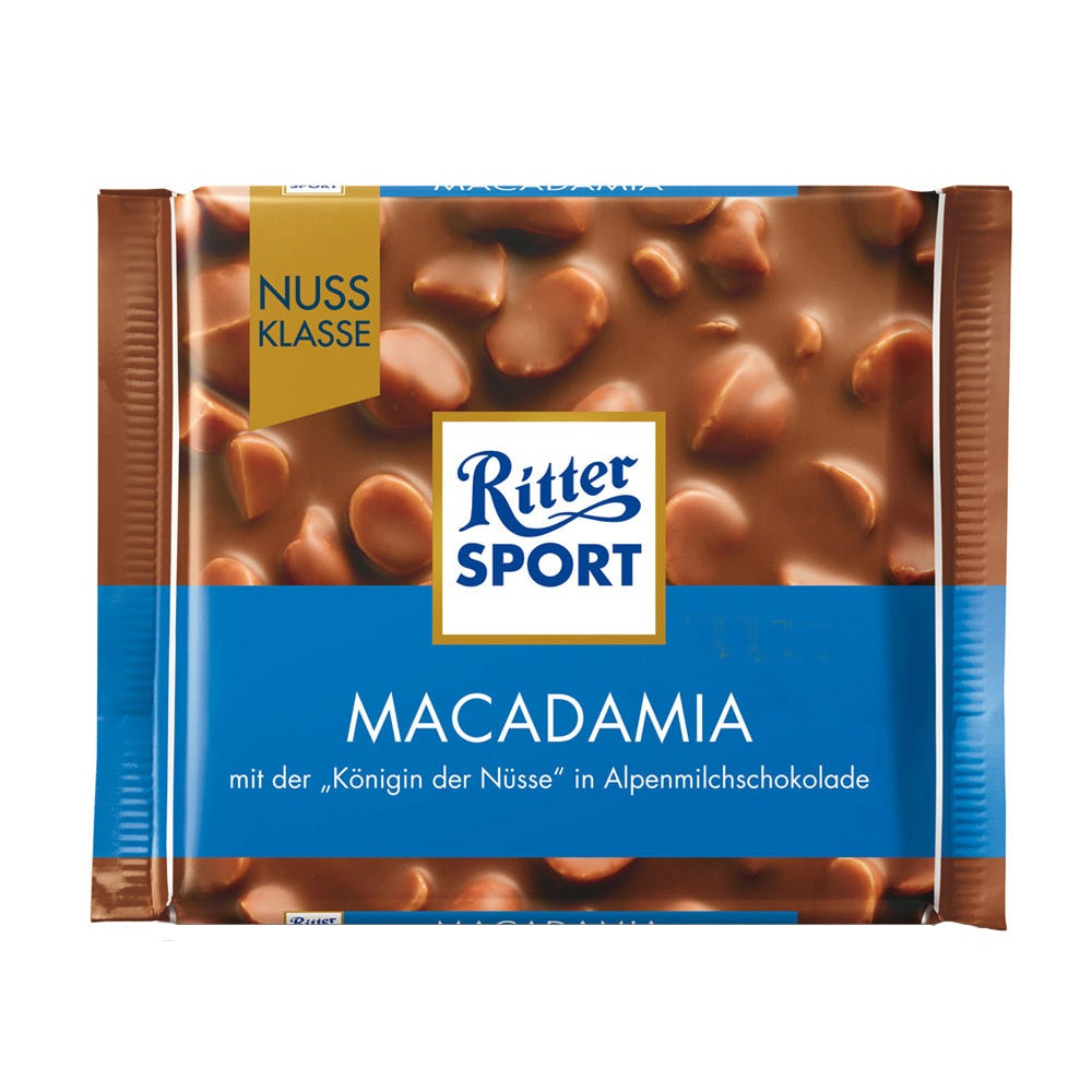 Chocolate con leche y macadamia Ritter® de 100 g