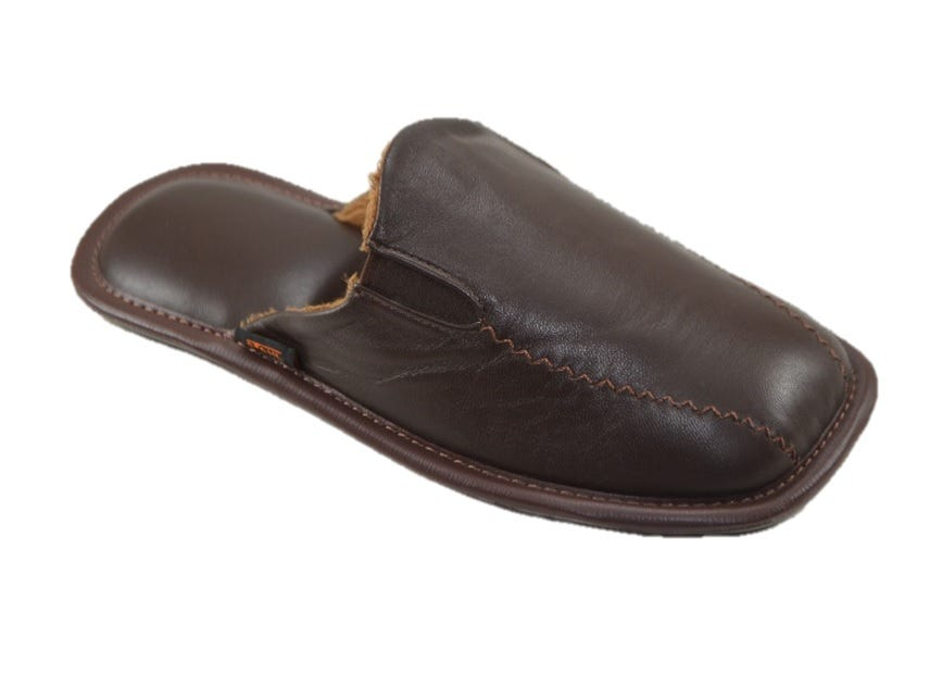 Pantufla Stahl® tamaño S de piel color café
