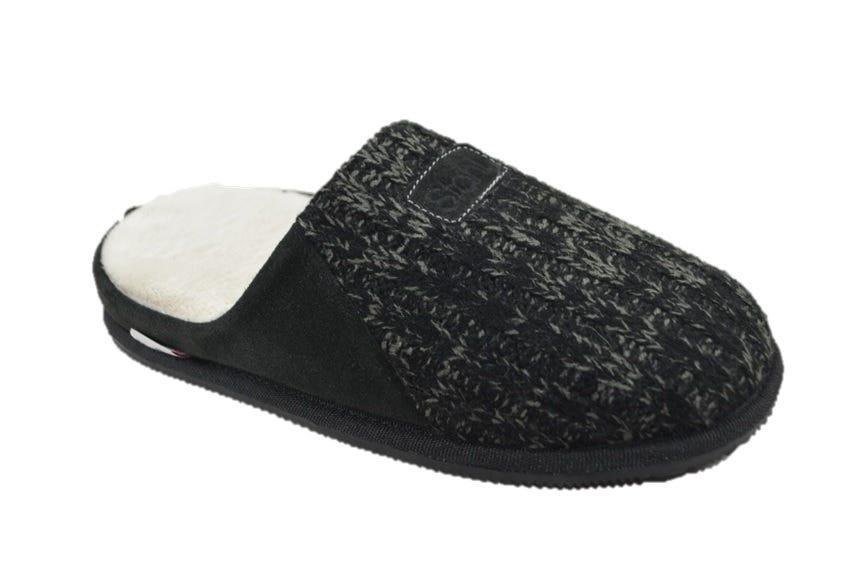 Pantufla sueca Stahl® tamaño S de piel color negro
