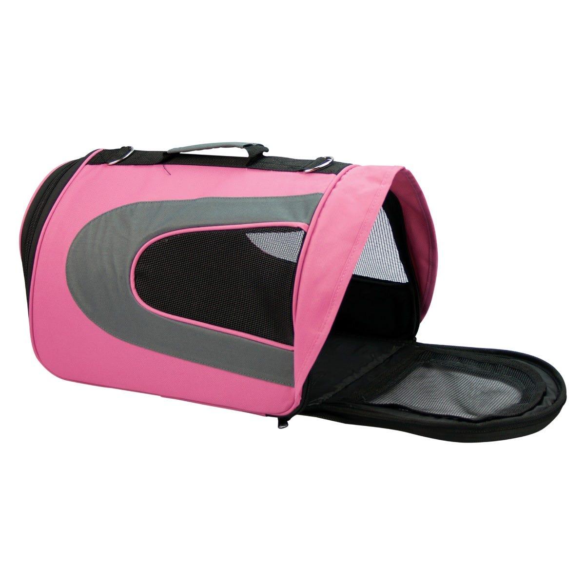 Transportadora Fancy Pets® con visera rosa tamaño grande
