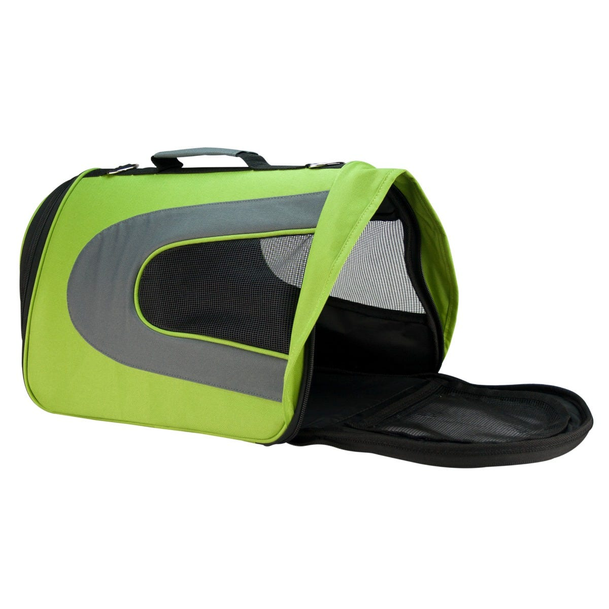 Transportadora Fancy Pets® con visera verde tamaño grande