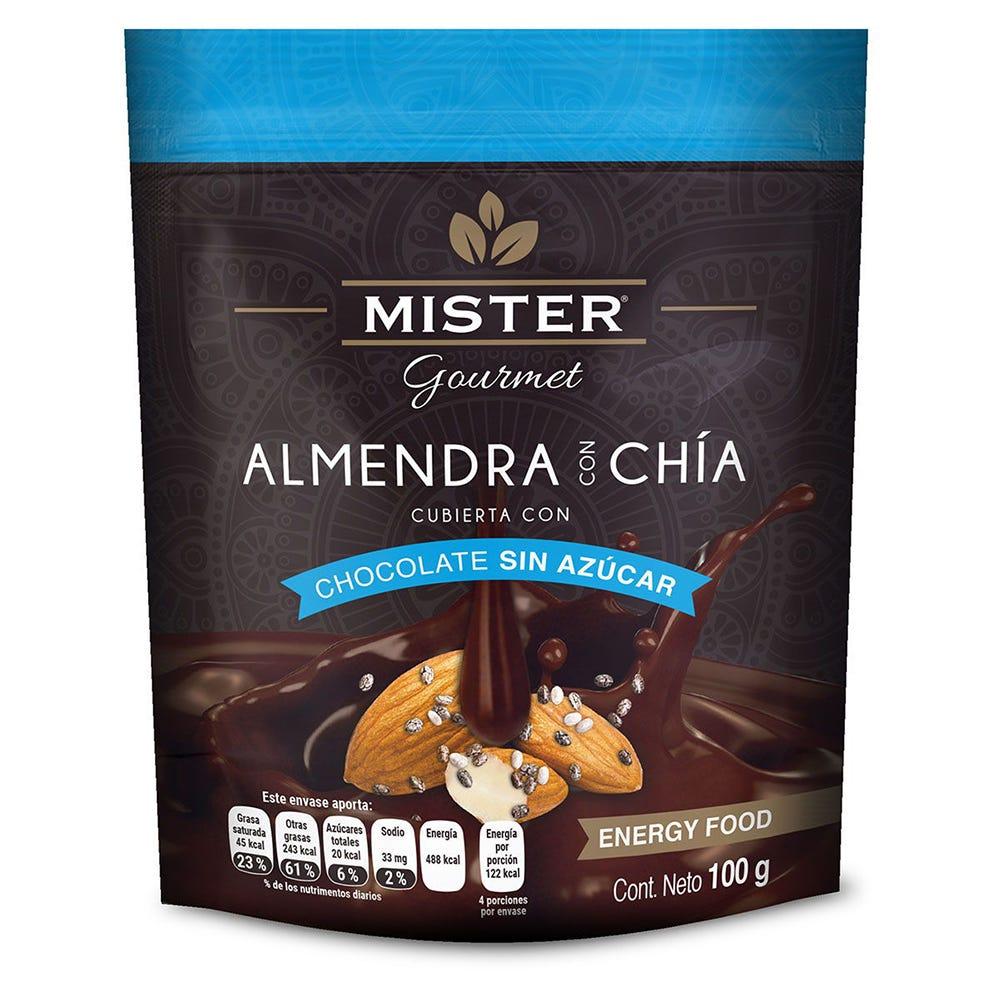 Almendra con chocolate sin azúcar y chía Mister® de 100 g