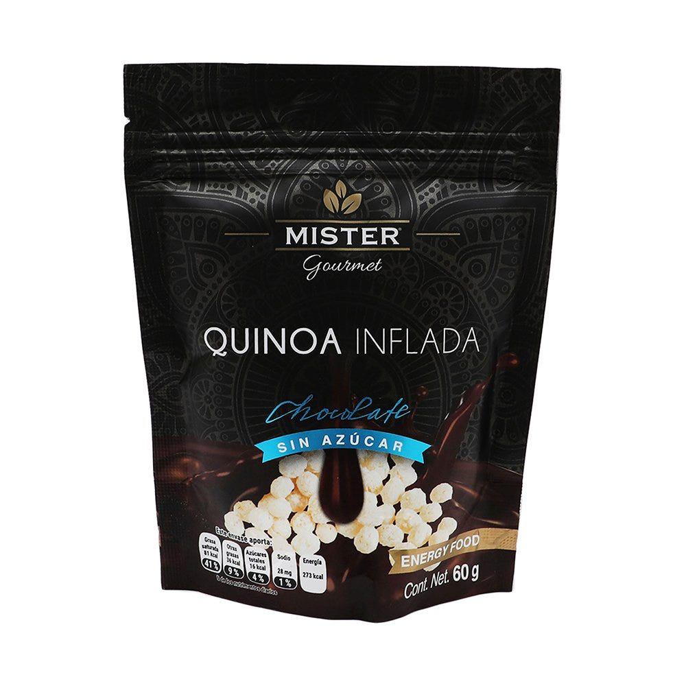 Quínoa con chocolate sin azúcar Mister® de 60 g