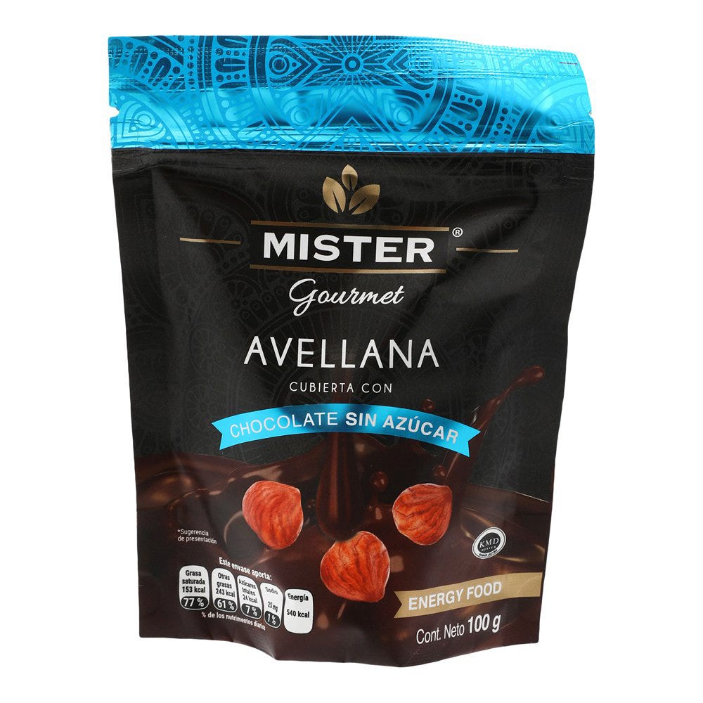 Avellana con chocolate sin azúcar Mister® de 100 g