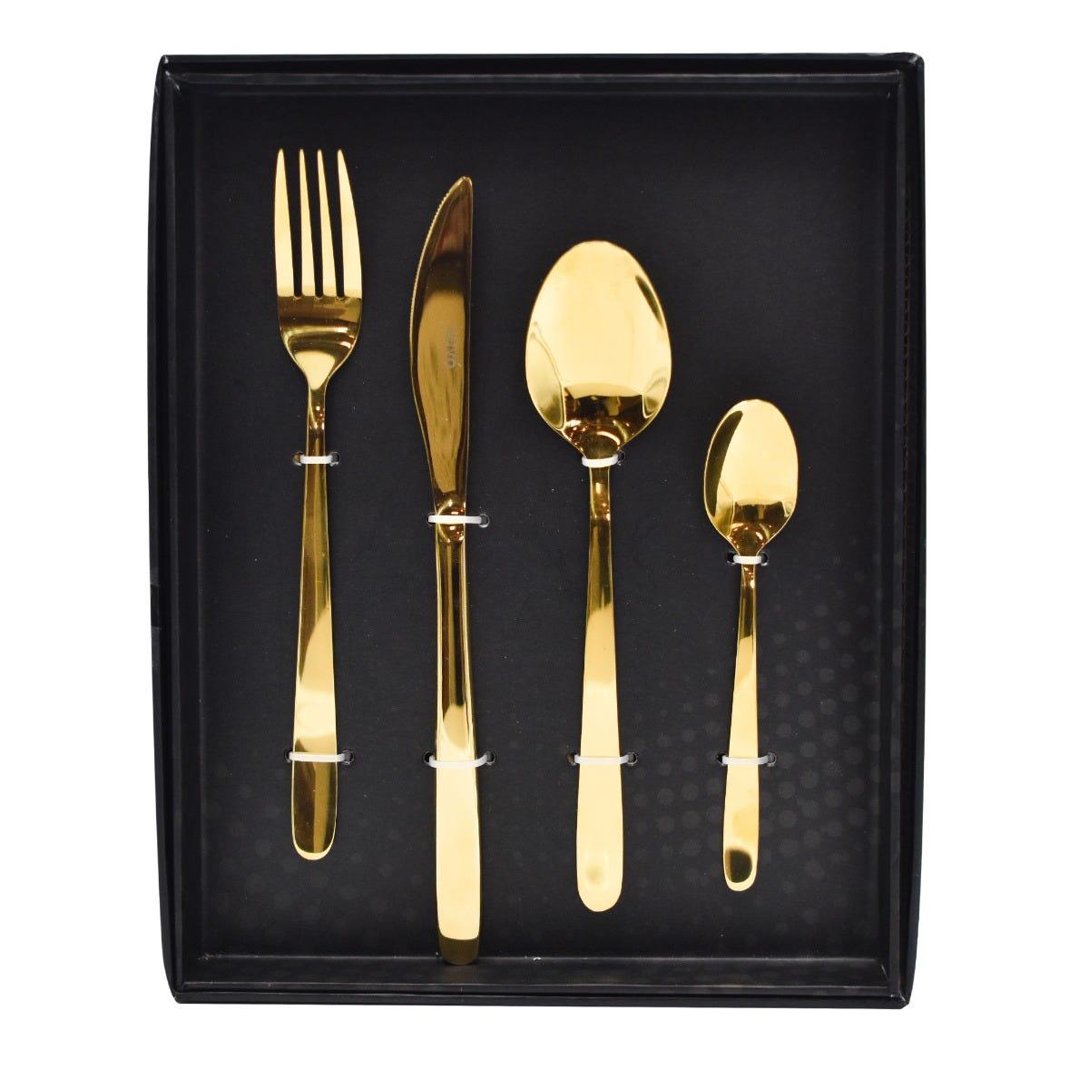 Set de cubiertos de acero inoxidable Dubái color oro, 16 piezas