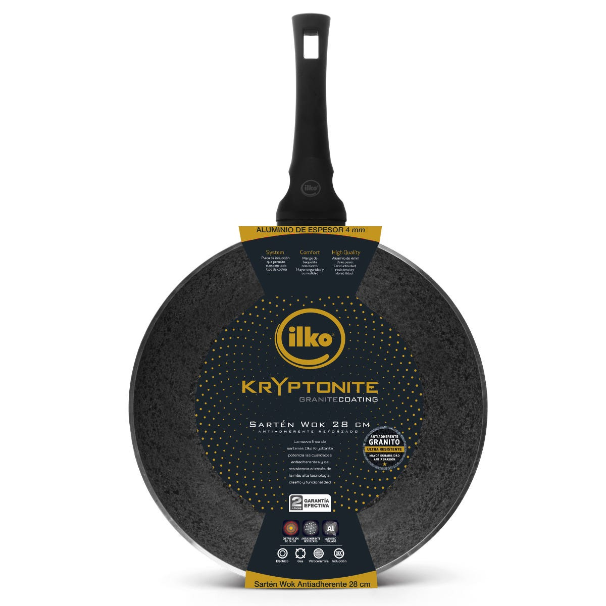 Wok antiadherente ILKO® Kryptonite de 28 cm