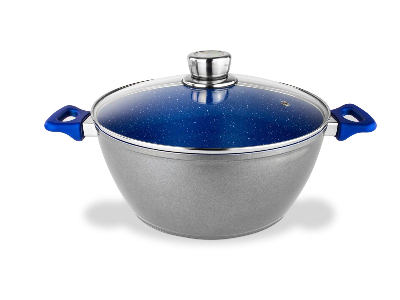 Cacerola de acero inoxidable con tapa Flavorstone® de 24 cm color azul
